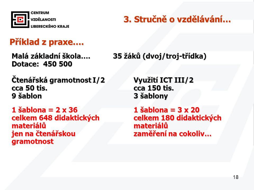 18 Příklad z praxe…. Malá základní škola…. 35 žáků (dvoj/troj-třídka) Dotace: 450 500 3.