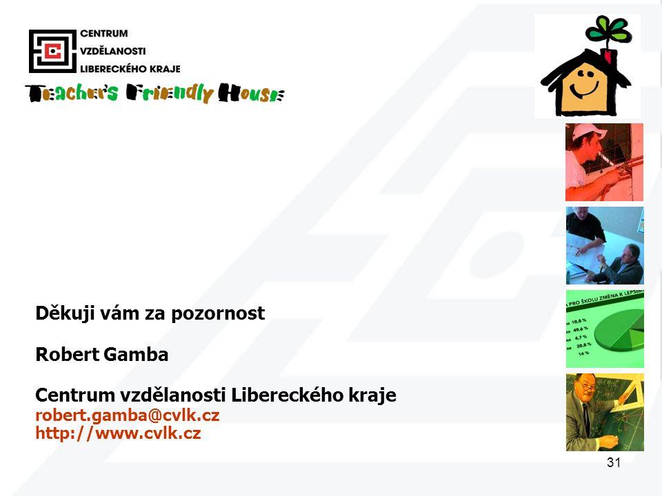 31 Děkuji vám za pozornost Robert Gamba Centrum vzdělanosti Libereckého kraje robert.gamba@cvlk.cz http://www.cvlk.cz