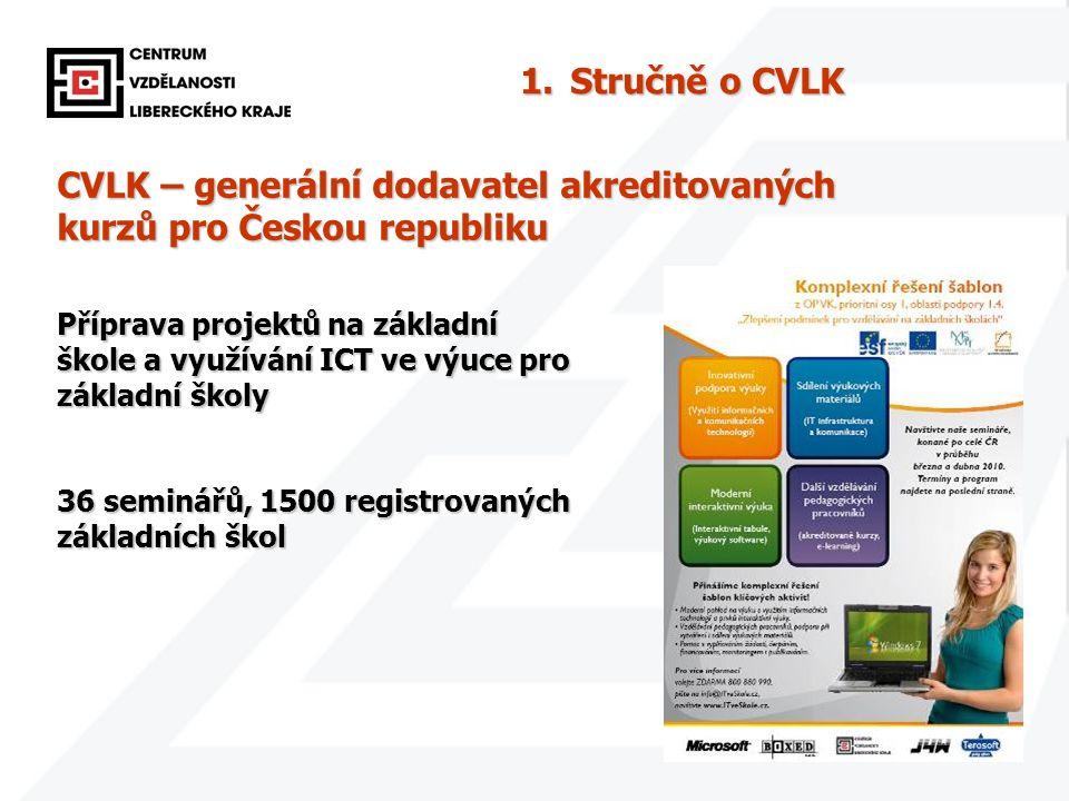 4 CVLK – generální dodavatel akreditovaných kurzů pro Českou republiku Příprava projektů na základní škole a využívání ICT ve výuce pro základní školy 36 seminářů, 1500 registrovaných základních škol 1.