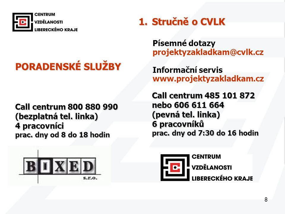 8 PORADENSKÉ SLUŽBY Call centrum 800 880 990 (bezplatná tel. linka) 4 pracovníci prac. dny od 8 do 18 hodin Call centrum 485 101 872 nebo 606 611 664