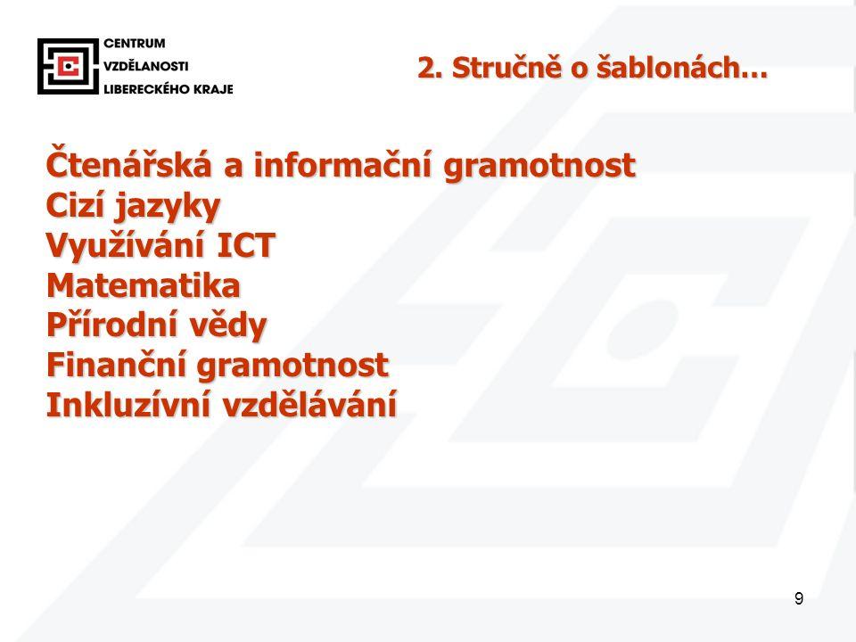 9 Čtenářská a informační gramotnost Cizí jazyky Využívání ICT Matematika Přírodní vědy Finanční gramotnost Inkluzívní vzdělávání 2. Stručně o šablonác