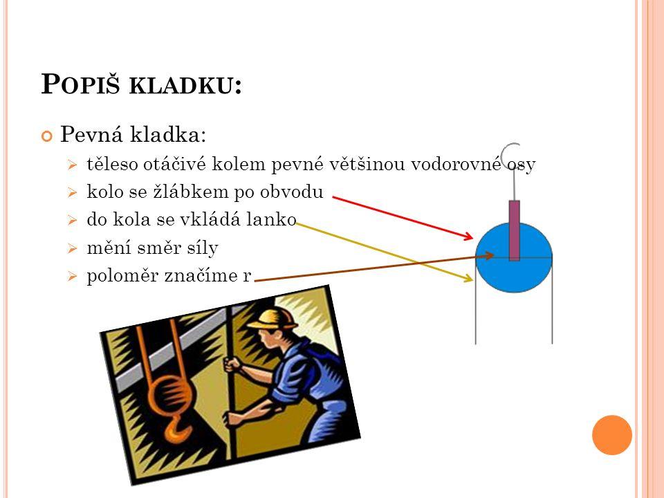 P OPIŠ KLADKU : Pevná kladka:  těleso otáčivé kolem pevné většinou vodorovné osy  kolo se žlábkem po obvodu  do kola se vkládá lanko  mění směr síly  poloměr značíme r
