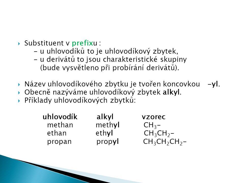  Substituent v prefixu : - u uhlovodíků to je uhlovodíkový zbytek, - u derivátů to jsou charakteristické skupiny (bude vysvětleno při probírání derivátů).