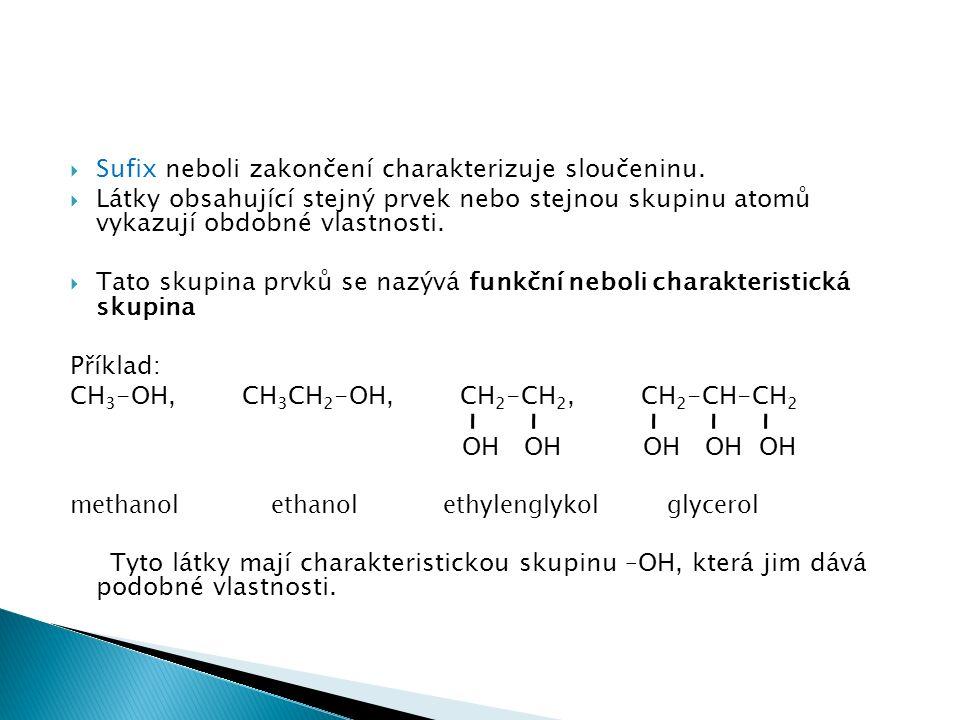 Sufix neboli zakončení charakterizuje sloučeninu.
