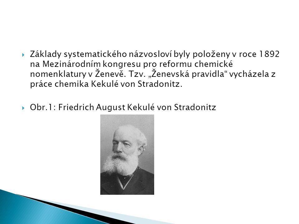  Základy systematického názvosloví byly položeny v roce 1892 na Mezinárodním kongresu pro reformu chemické nomenklatury v Ženevě.