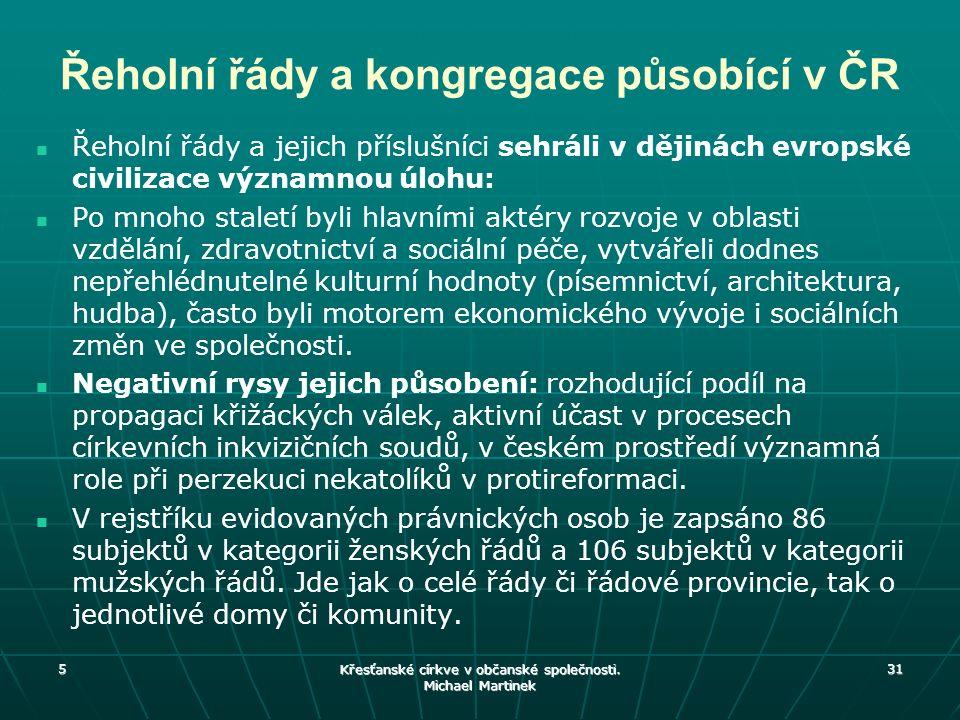 Řeholní řády a kongregace působící v ČR Řeholní řády a jejich příslušníci sehráli v dějinách evropské civilizace významnou úlohu: Po mnoho staletí byl