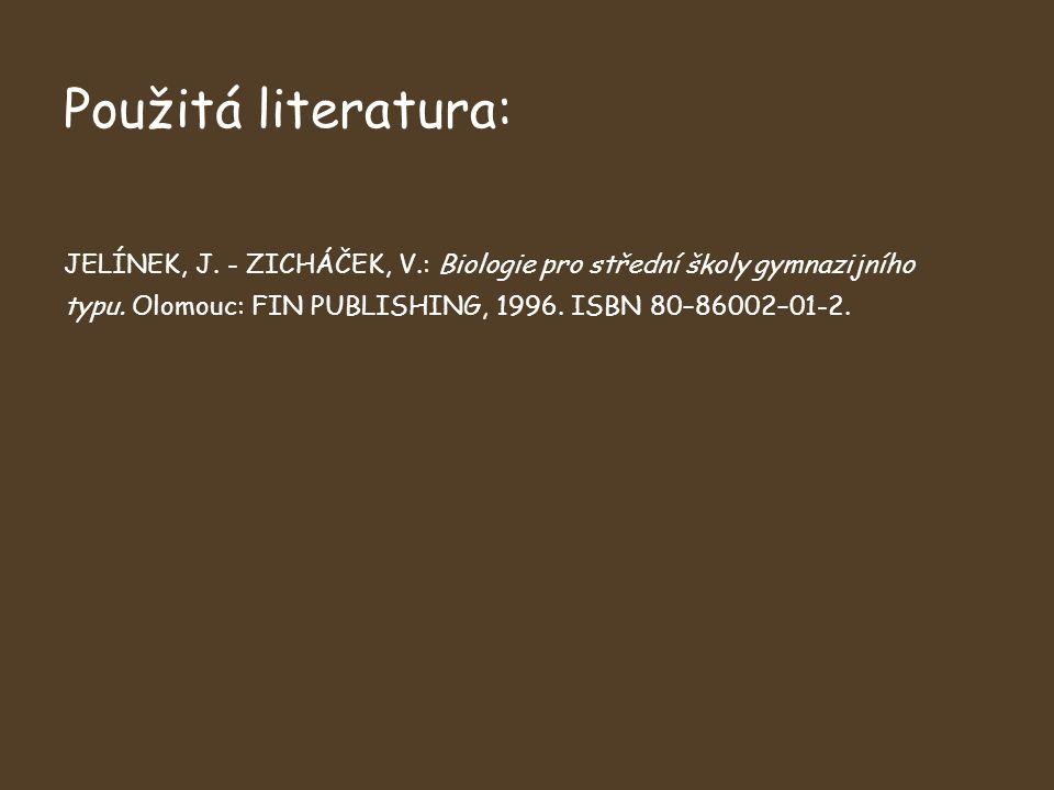 Použitá literatura: JELÍNEK, J. - ZICHÁČEK, V.: Biologie pro střední školy gymnazijního typu.