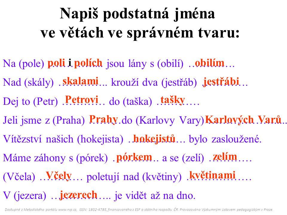 Napiš podstatná jména ve větách ve správném tvaru: Na (pole) …………....