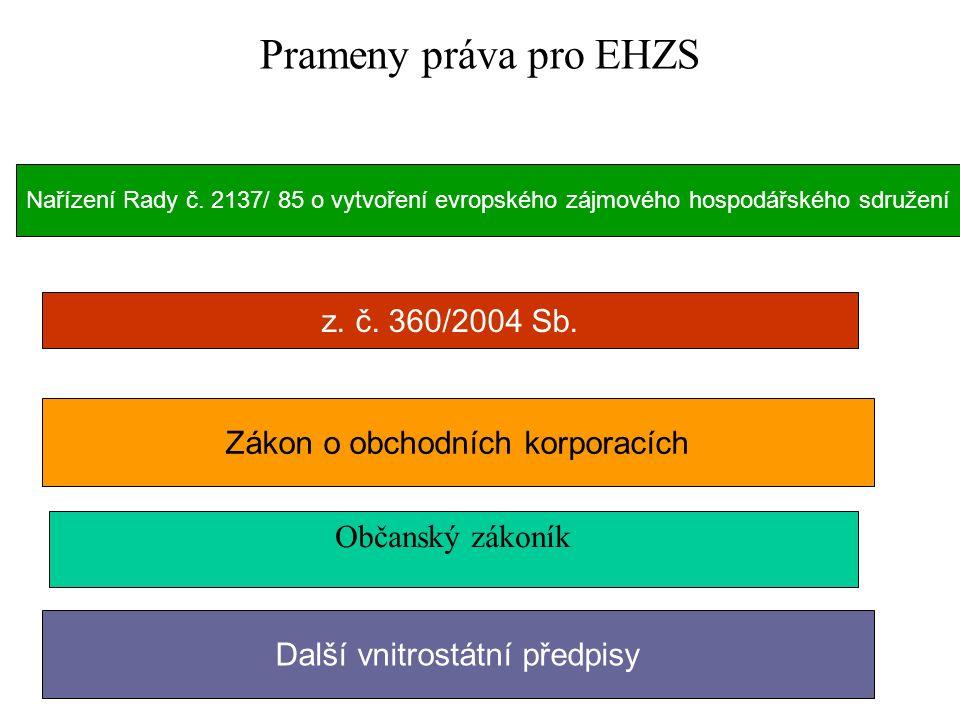 Prameny práva pro EHZS Nařízení Rady č.