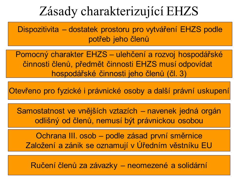Zásady charakterizující EHZS Dispozitivita – dostatek prostoru pro vytváření EHZS podle potřeb jeho členů Pomocný charakter EHZS – ulehčení a rozvoj hospodářské činnosti členů, předmět činnosti EHZS musí odpovídat hospodářské činnosti jeho členů (čl.