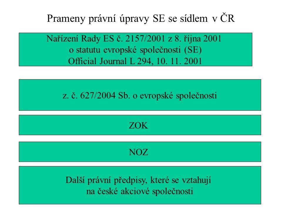 Prameny právní úpravy SE se sídlem v ČR Nařízení Rady ES č.