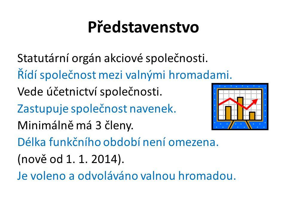 Představenstvo Statutární orgán akciové společnosti.