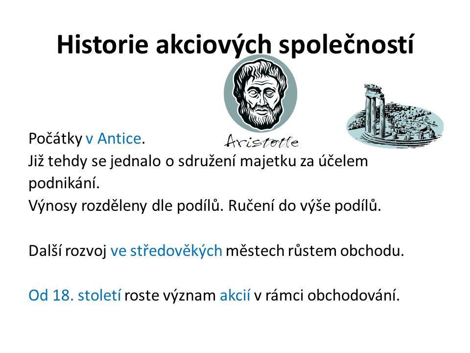 Historie akciových společností Počátky v Antice.