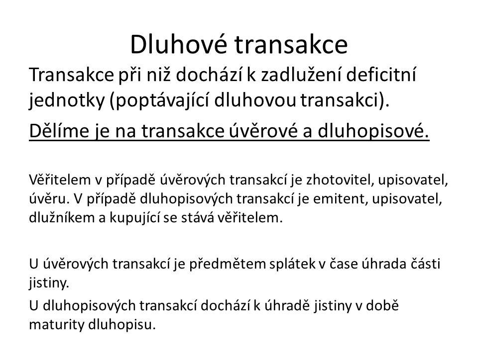Dluhové transakce Transakce při niž dochází k zadlužení deficitní jednotky (poptávající dluhovou transakci). Dělíme je na transakce úvěrové a dluhopis