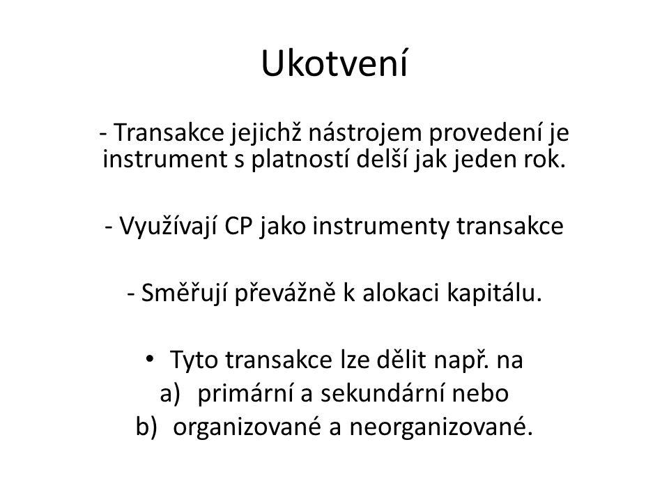 Ukotvení - Transakce jejichž nástrojem provedení je instrument s platností delší jak jeden rok. - Využívají CP jako instrumenty transakce - Směřují př