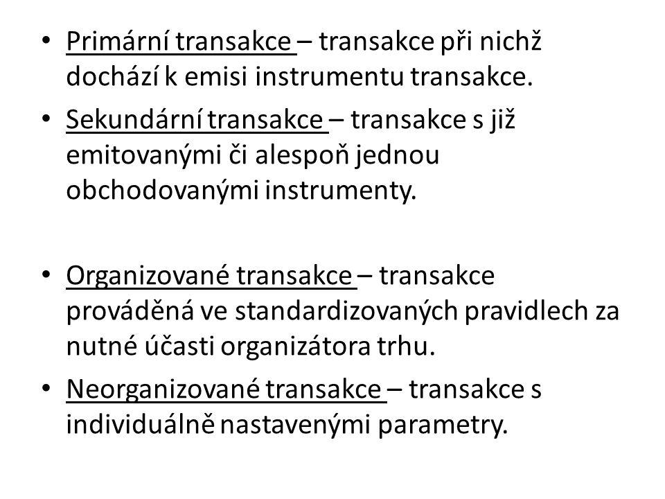 Primární transakce – transakce při nichž dochází k emisi instrumentu transakce. Sekundární transakce – transakce s již emitovanými či alespoň jednou o
