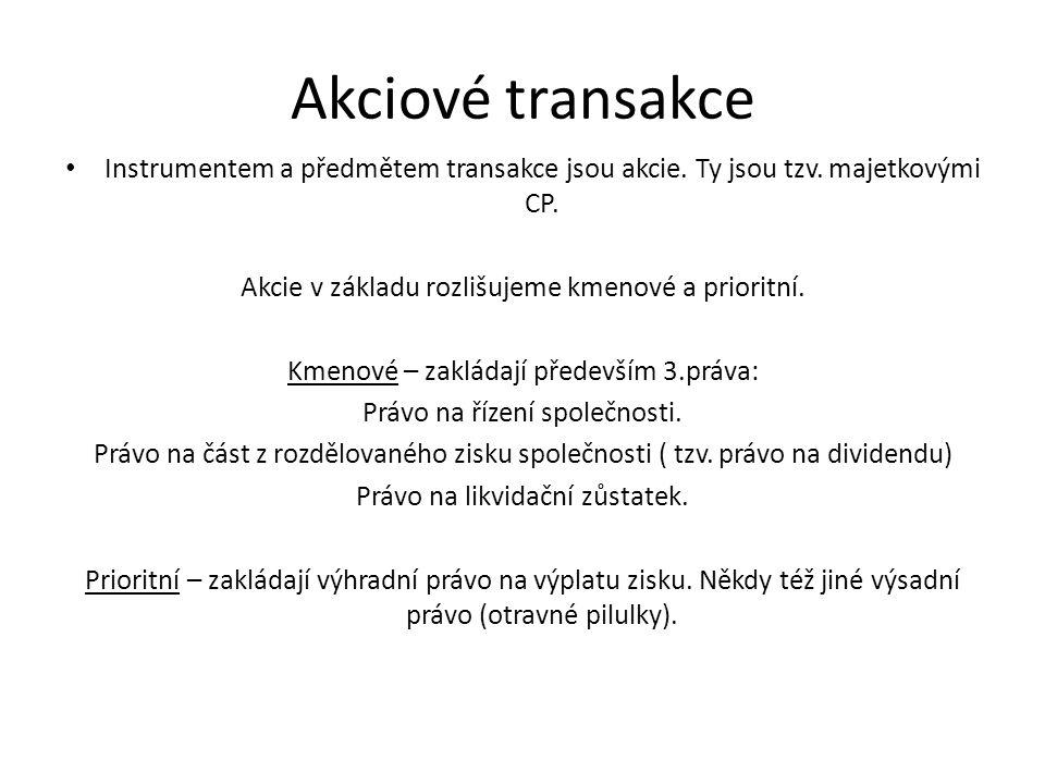 Akciové transakce Instrumentem a předmětem transakce jsou akcie.
