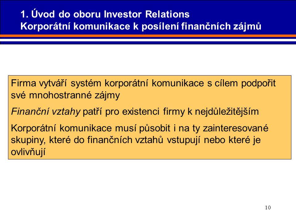 10 Firma vytváří systém korporátní komunikace s cílem podpořit své mnohostranné zájmy Finanční vztahy patří pro existenci firmy k nejdůležitějším Korp