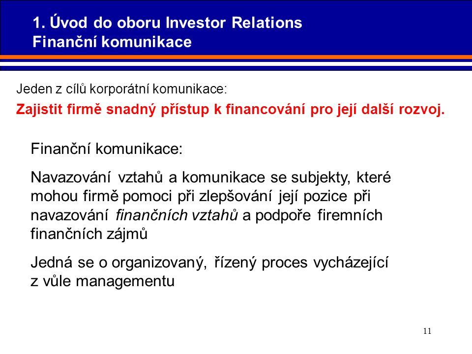 11 Jeden z cílů korporátní komunikace: Zajistit firmě snadný přístup k financování pro její další rozvoj. Finanční komunikace: Navazování vztahů a kom