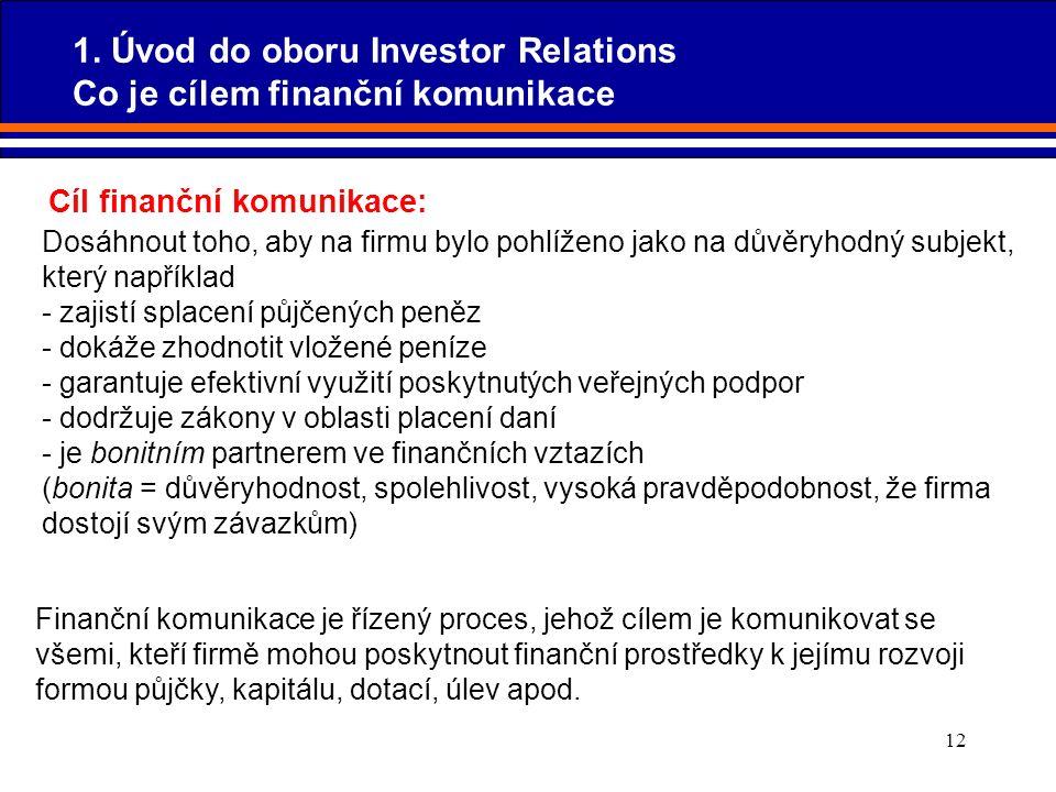 12 Cíl finanční komunikace: Dosáhnout toho, aby na firmu bylo pohlíženo jako na důvěryhodný subjekt, který například - zajistí splacení půjčených peně
