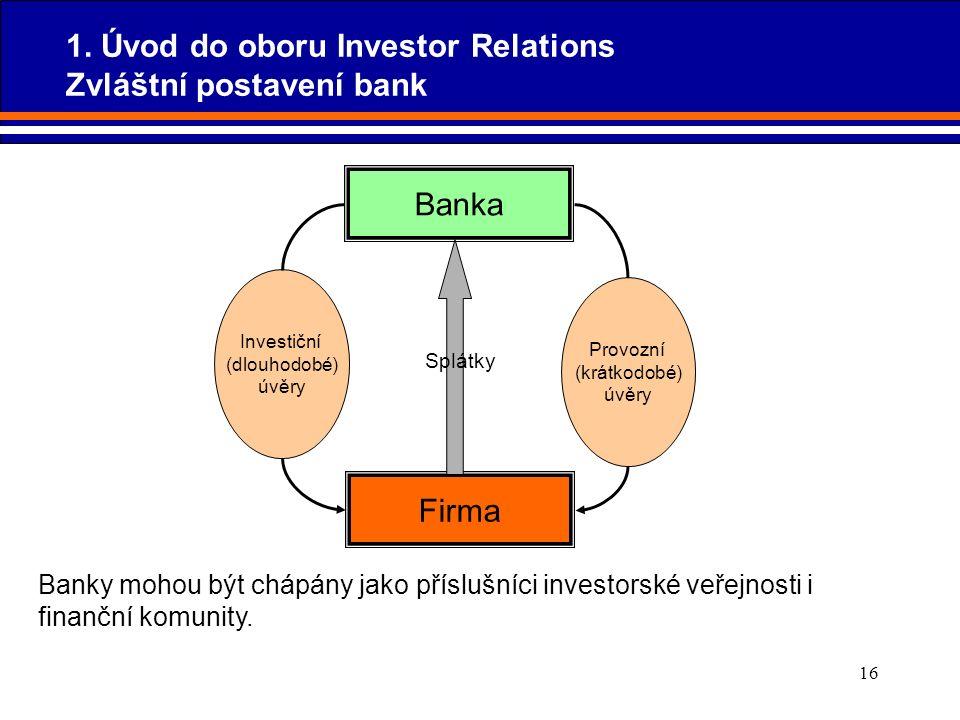 16 Banky mohou být chápány jako příslušníci investorské veřejnosti i finanční komunity. Banka Investiční (dlouhodobé) úvěry Provozní (krátkodobé) úvěr