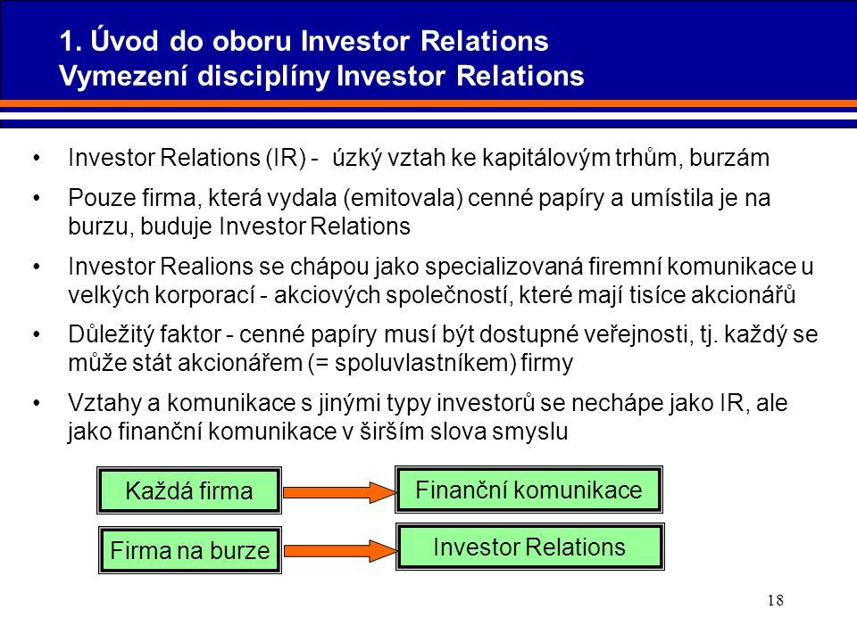 18 1. Úvod do oboru Investor Relations Vymezení disciplíny Investor Relations Investor Relations (IR) - úzký vztah ke kapitálovým trhům, burzám Pouze