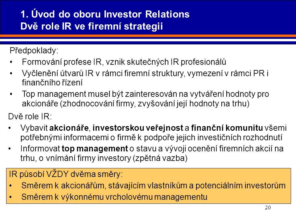 20 Předpoklady: Formování profese IR, vznik skutečných IR profesionálů Vyčlenění útvarů IR v rámci firemní struktury, vymezení v rámci PR i finančního