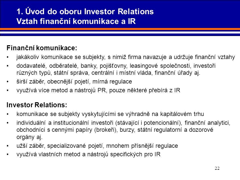 22 Finanční komunikace: jakákoliv komunikace se subjekty, s nimiž firma navazuje a udržuje finanční vztahy dodavatelé, odběratelé, banky, pojišťovny,