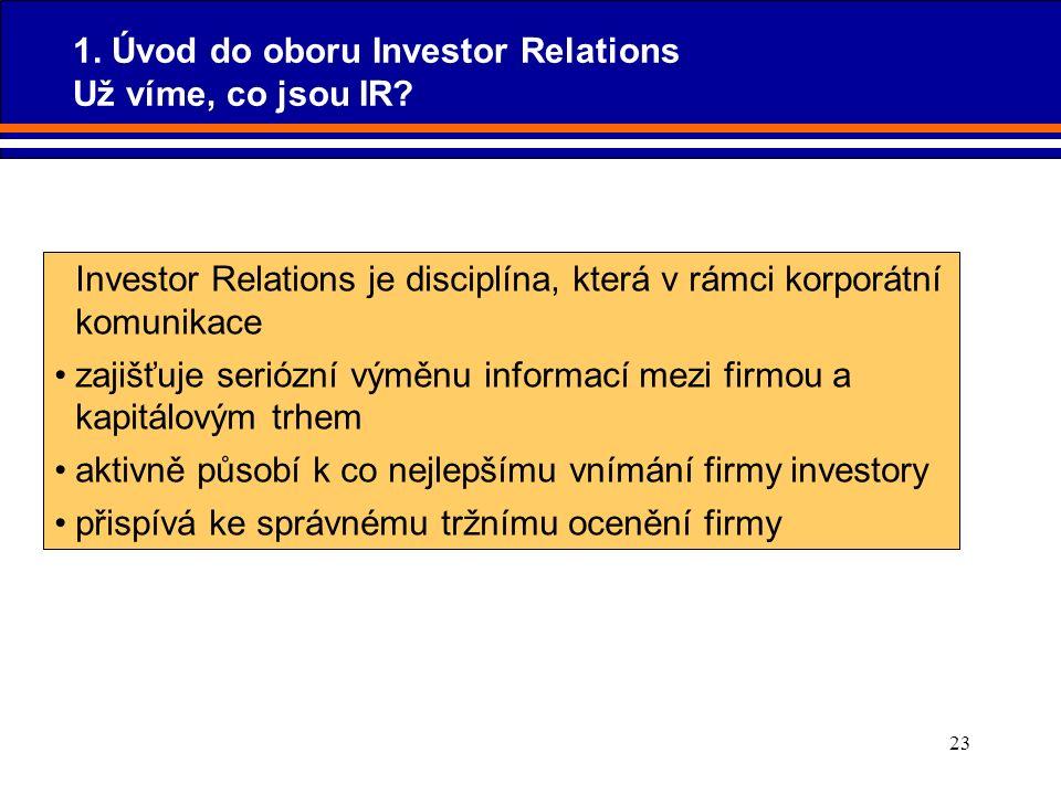 23 Investor Relations je disciplína, která v rámci korporátní komunikace zajišťuje seriózní výměnu informací mezi firmou a kapitálovým trhem aktivně p
