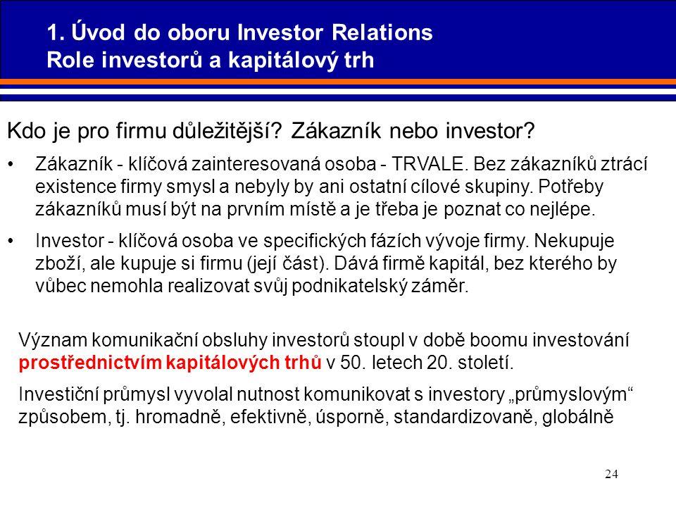 24 Kdo je pro firmu důležitější? Zákazník nebo investor? Zákazník - klíčová zainteresovaná osoba - TRVALE. Bez zákazníků ztrácí existence firmy smysl