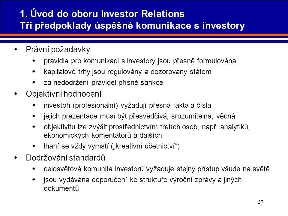 27  Právní požadavky  pravidla pro komunikaci s investory jsou přesně formulována  kapitálové trhy jsou regulovány a dozorovány státem  za nedodrž