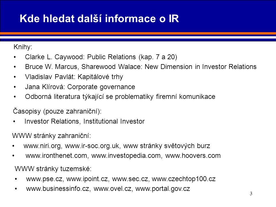 3 Kde hledat další informace o IR Časopisy (pouze zahraniční): Investor Relations, Institutional Investor WWW stránky zahraniční: www.niri.org, www.ir