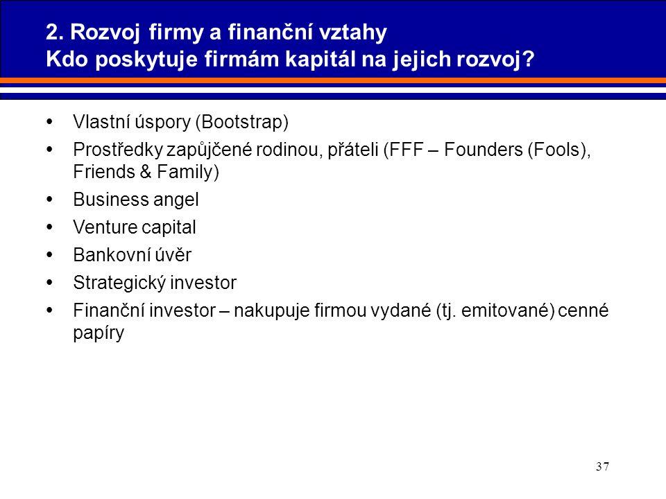 37 2. Rozvoj firmy a finanční vztahy Kdo poskytuje firmám kapitál na jejich rozvoj?  Vlastní úspory (Bootstrap)  Prostředky zapůjčené rodinou, přáte