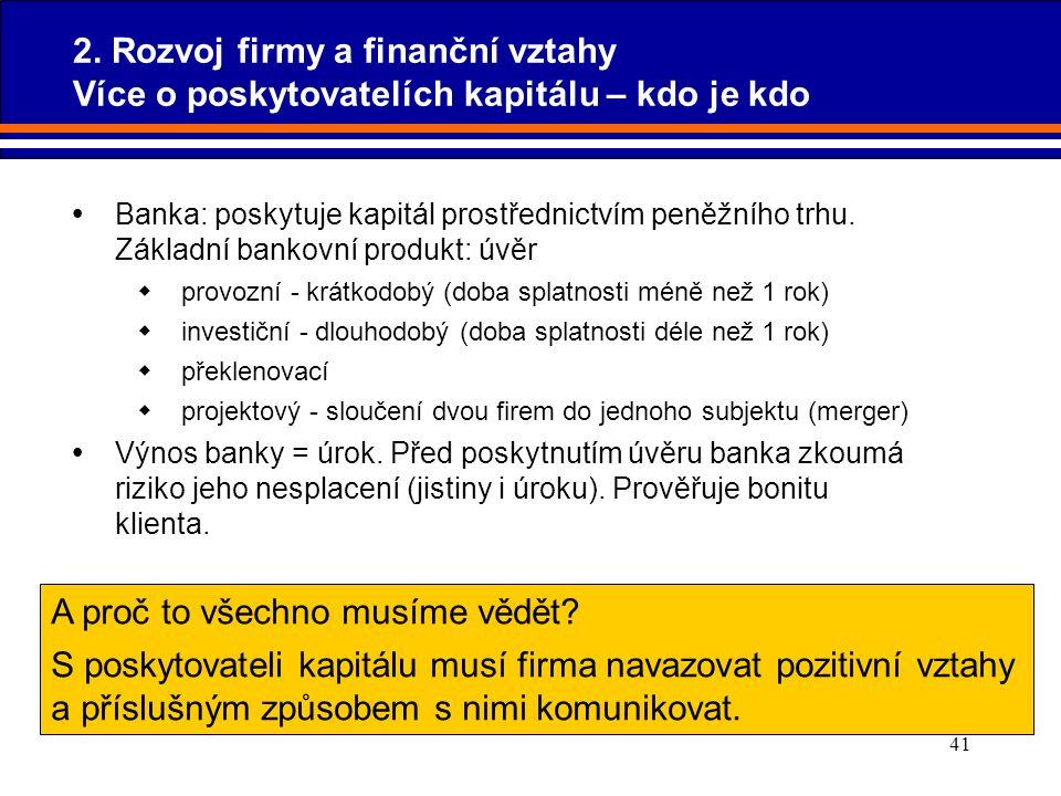41  Banka: poskytuje kapitál prostřednictvím peněžního trhu. Základní bankovní produkt: úvěr  provozní - krátkodobý (doba splatnosti méně než 1 rok)
