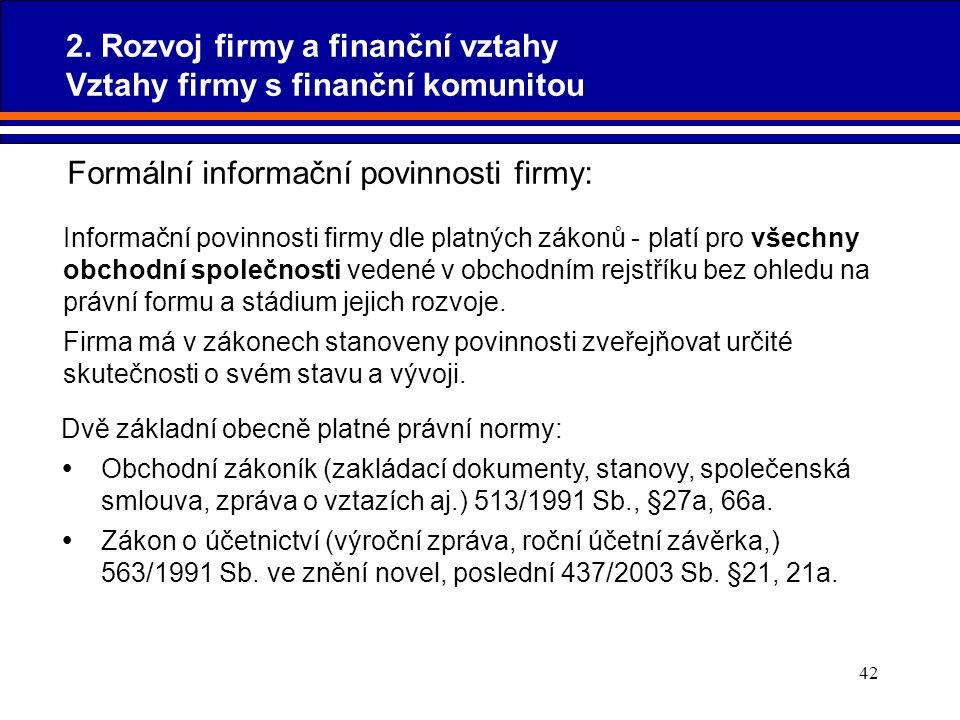42 Dvě základní obecně platné právní normy:  Obchodní zákoník (zakládací dokumenty, stanovy, společenská smlouva, zpráva o vztazích aj.) 513/1991 Sb.