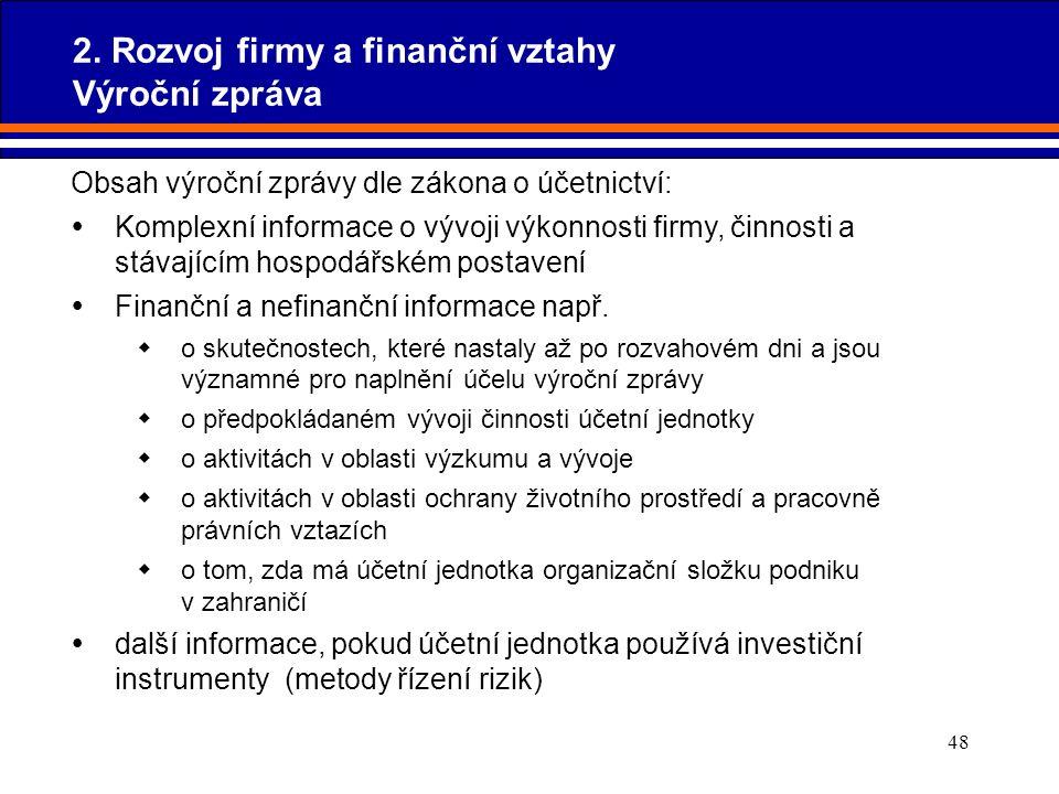 48 Obsah výroční zprávy dle zákona o účetnictví:  Komplexní informace o vývoji výkonnosti firmy, činnosti a stávajícím hospodářském postavení  Finan