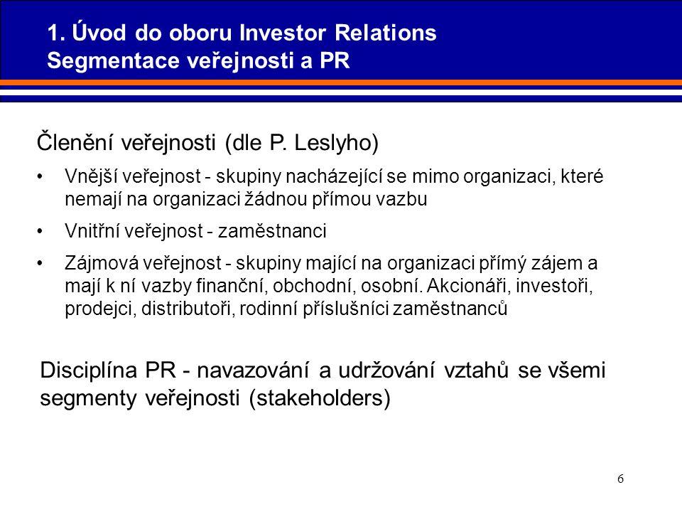 6 Členění veřejnosti (dle P. Leslyho) Vnější veřejnost - skupiny nacházející se mimo organizaci, které nemají na organizaci žádnou přímou vazbu Vnitřn
