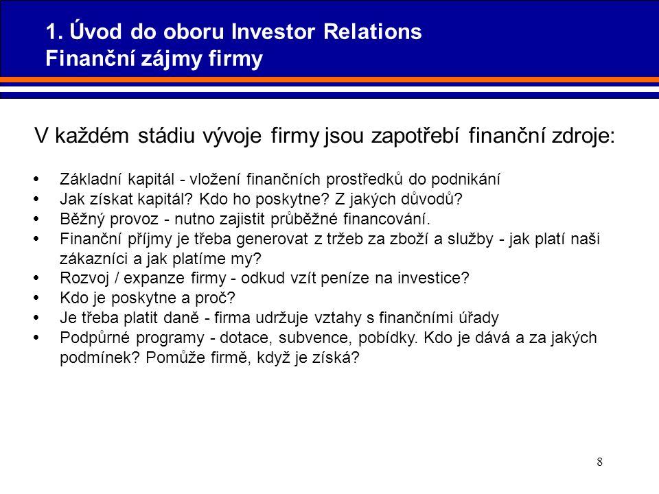 8  Základní kapitál - vložení finančních prostředků do podnikání  Jak získat kapitál? Kdo ho poskytne? Z jakých důvodů?  Běžný provoz - nutno zajis