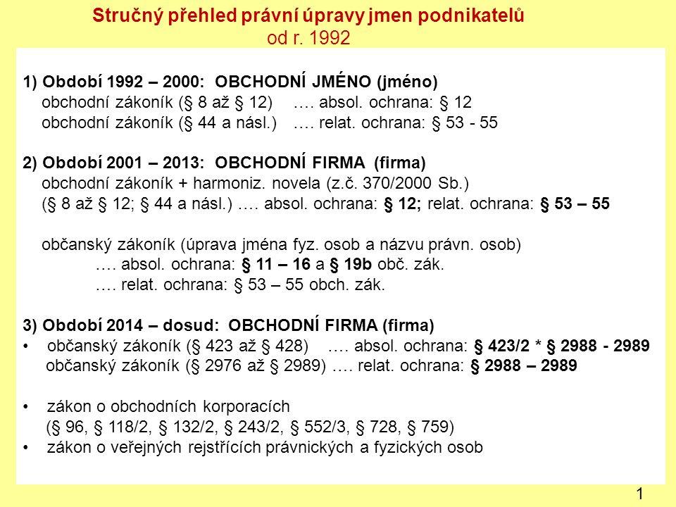 1) Období 1992 – 2000: OBCHODNÍ JMÉNO (jméno) obchodní zákoník (§ 8 až § 12) ….