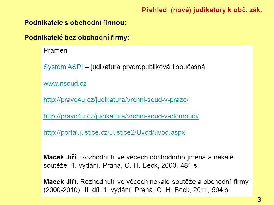 Podnikatelé s obchodní firmou: Podnikatelé bez obchodní firmy: Pramen: Systém ASPI – judikatura prvorepubliková i současná www.nsoud.cz http://pravo4u.cz/judikatura/vrchni-soud-v-praze/ http://pravo4u.cz/judikatura/vrchni-soud-v-olomouci/ http://portal.justice.cz/Justice2/Uvod/uvod.aspx Macek Jiří.