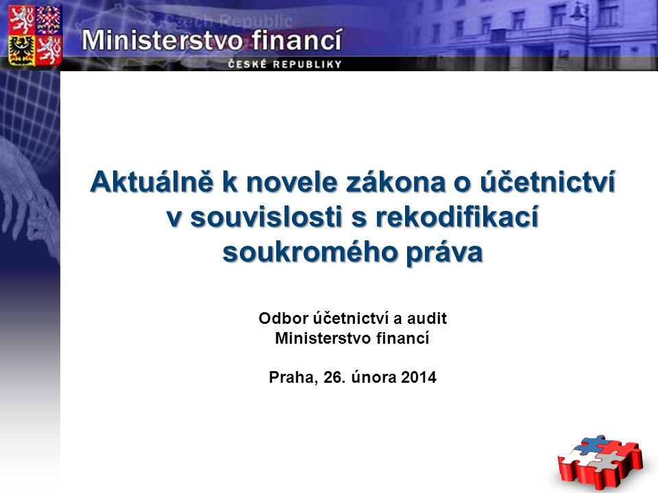 Page  1 YOUR LOGO STÁTNÍ Aktuálně k novele zákona o účetnictví v souvislosti s rekodifikací soukromého práva Odbor účetnictví a audit Ministerstvo fi