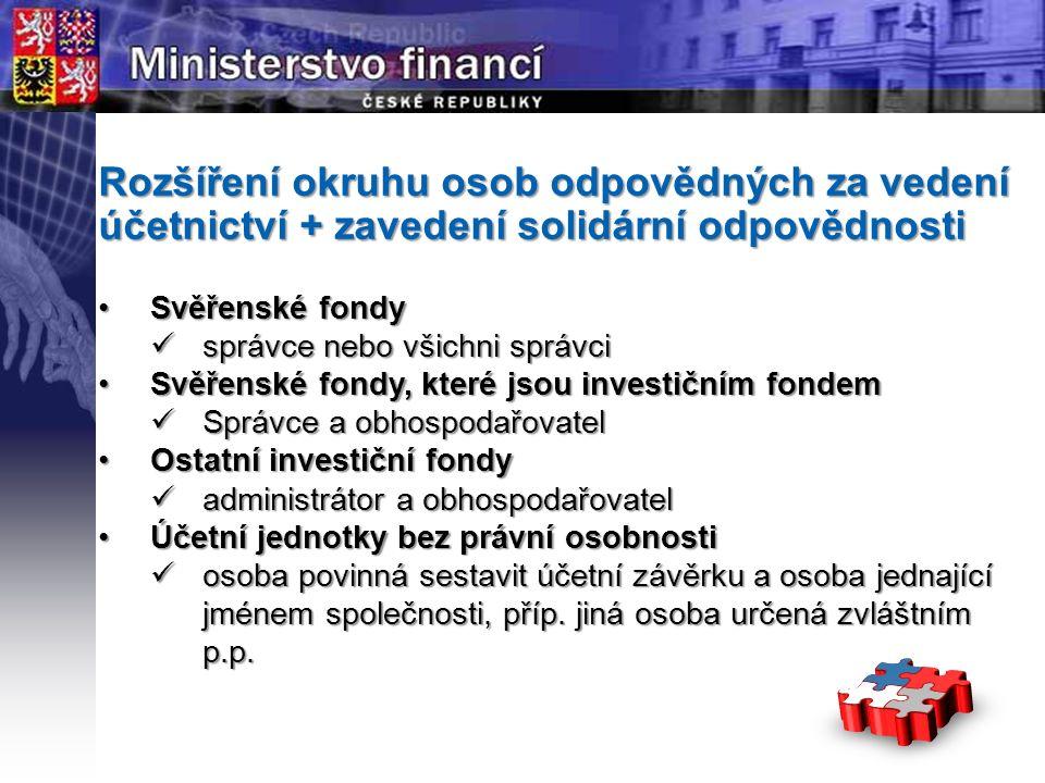 Page  4 YOUR LOGO STÁTNÍ Rozšíření okruhu osob odpovědných za vedení účetnictví + zavedení solidární odpovědnosti Svěřenské fondySvěřenské fondy správce nebo všichni správci správce nebo všichni správci Svěřenské fondy, které jsou investičním fondemSvěřenské fondy, které jsou investičním fondem Správce a obhospodařovatel Správce a obhospodařovatel Ostatní investiční fondyOstatní investiční fondy administrátor a obhospodařovatel administrátor a obhospodařovatel Účetní jednotky bez právní osobnostiÚčetní jednotky bez právní osobnosti osoba povinná sestavit účetní závěrku a osoba jednající jménem společnosti, příp.