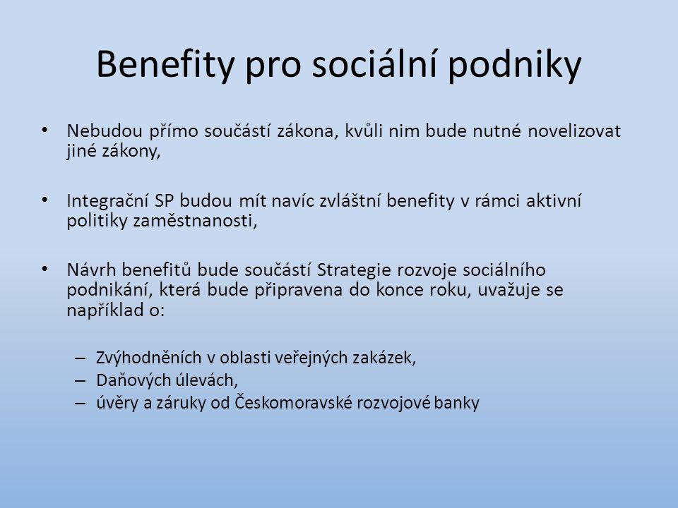Benefity pro sociální podniky Nebudou přímo součástí zákona, kvůli nim bude nutné novelizovat jiné zákony, Integrační SP budou mít navíc zvláštní benefity v rámci aktivní politiky zaměstnanosti, Návrh benefitů bude součástí Strategie rozvoje sociálního podnikání, která bude připravena do konce roku, uvažuje se například o: – Zvýhodněních v oblasti veřejných zakázek, – Daňových úlevách, – úvěry a záruky od Českomoravské rozvojové banky