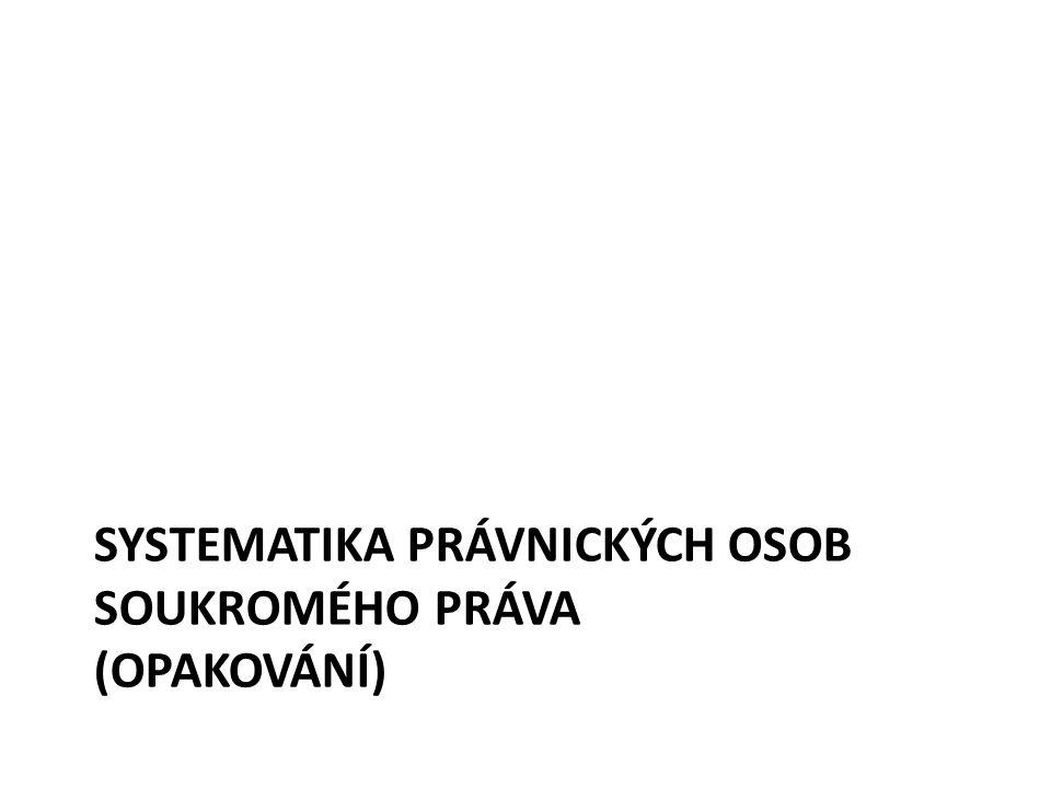SYSTEMATIKA PRÁVNICKÝCH OSOB SOUKROMÉHO PRÁVA (OPAKOVÁNÍ)