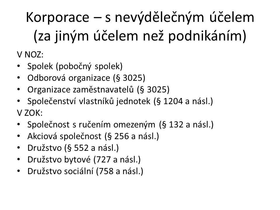 Korporace – s nevýdělečným účelem (za jiným účelem než podnikáním) V NOZ: Spolek (pobočný spolek) Odborová organizace (§ 3025) Organizace zaměstnavatelů (§ 3025) Společenství vlastníků jednotek (§ 1204 a násl.) V ZOK: Společnost s ručením omezeným (§ 132 a násl.) Akciová společnost (§ 256 a násl.) Družstvo (§ 552 a násl.) Družstvo bytové (727 a násl.) Družstvo sociální (758 a násl.)