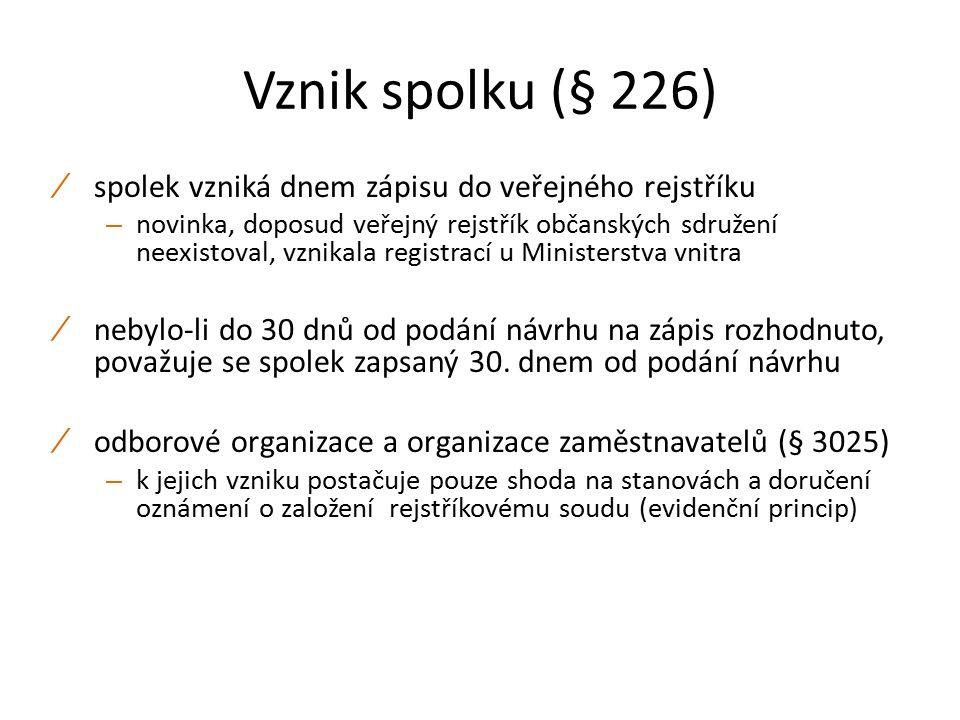 Vznik spolku (§ 226) ∕ spolek vzniká dnem zápisu do veřejného rejstříku – novinka, doposud veřejný rejstřík občanských sdružení neexistoval, vznikala registrací u Ministerstva vnitra ∕ nebylo-li do 30 dnů od podání návrhu na zápis rozhodnuto, považuje se spolek zapsaný 30.