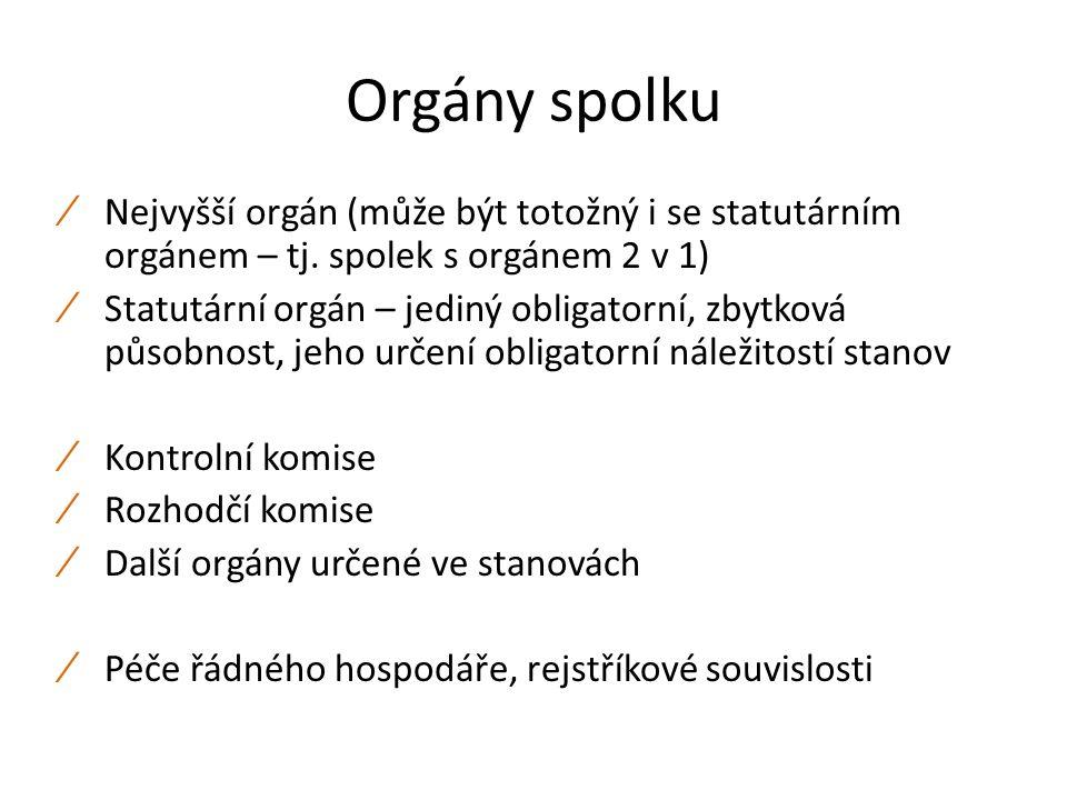 Orgány spolku ∕ Nejvyšší orgán (může být totožný i se statutárním orgánem – tj.