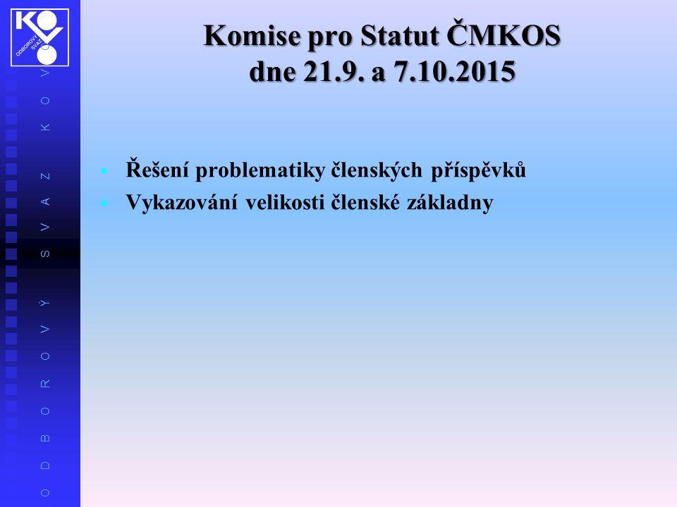 O D B O R O V Ý S V A Z K O V O Komise pro Statut ČMKOS dne 21.9.