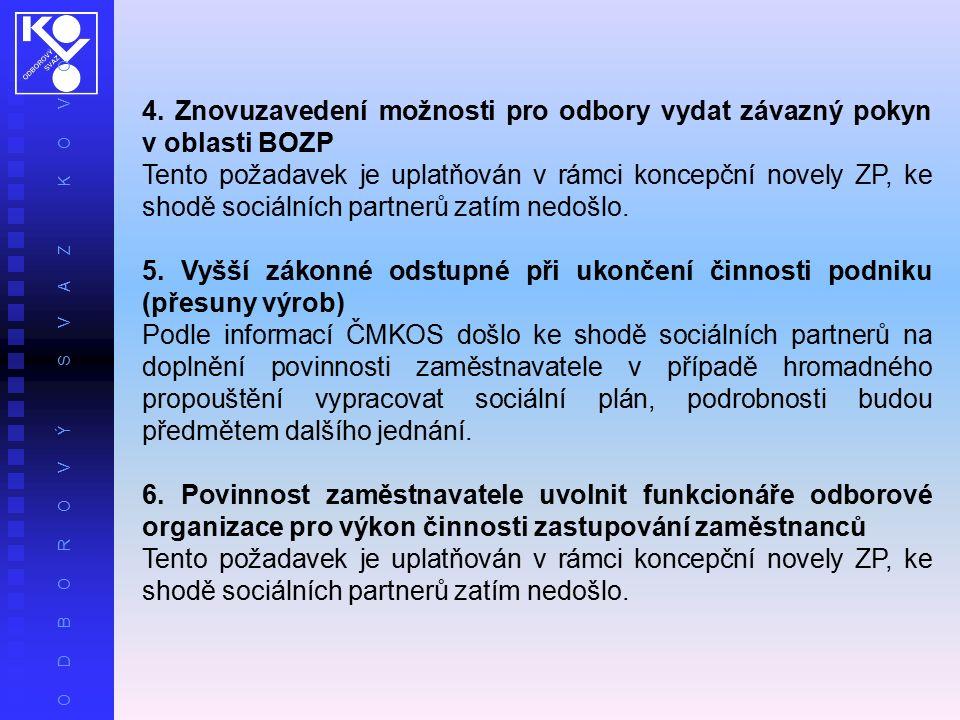 O D B O R O V Ý S V A Z K O V O 4. Znovuzavedení možnosti pro odbory vydat závazný pokyn v oblasti BOZP Tento požadavek je uplatňován v rámci koncepčn