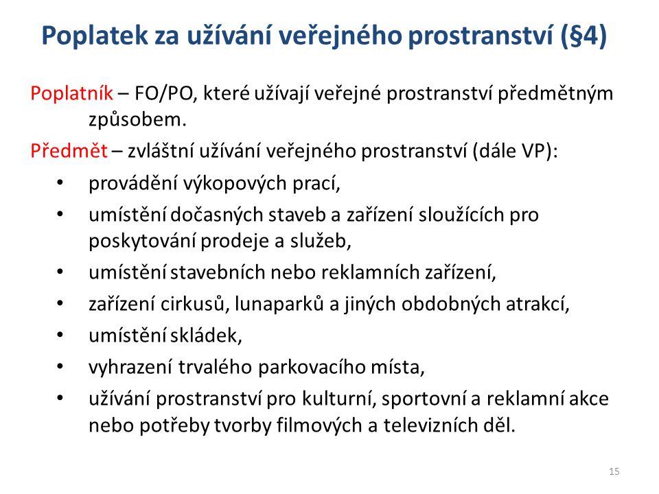 Poplatek za užívání veřejného prostranství (§4) Poplatník – FO/PO, které užívají veřejné prostranství předmětným způsobem. Předmět – zvláštní užívání